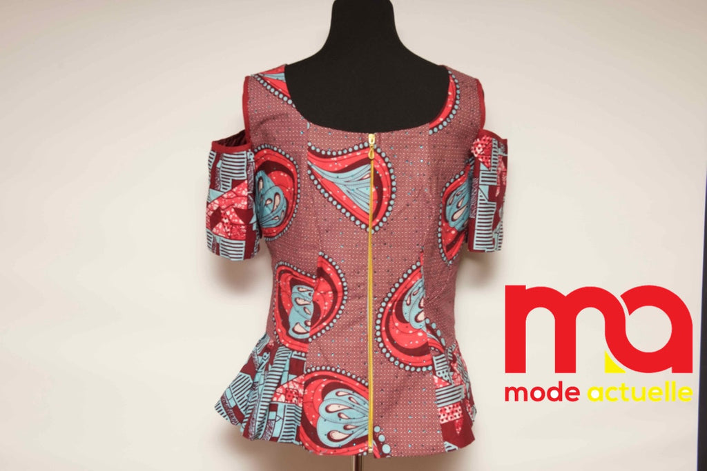 Shoulder-Cut Ankara top P&B