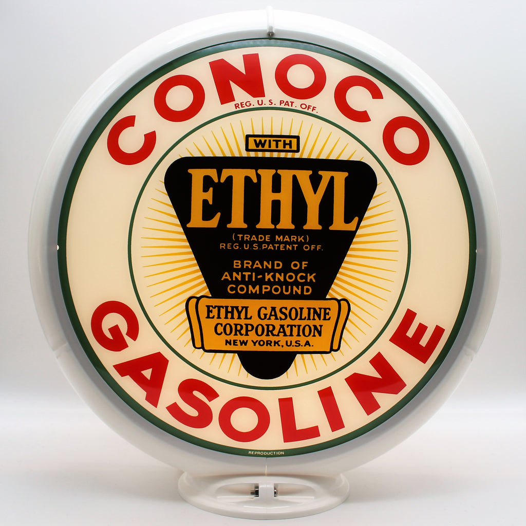 CONOCO ETHYL GASOLINE WHITE Gas Pump Globe Face / Lens