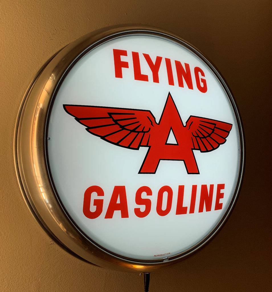 LED Wall Mount - Flying A Gasoline (White Background)