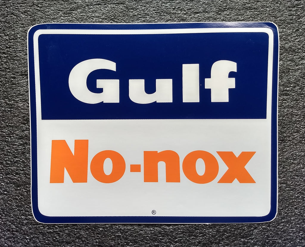 GULF NO NOX TRAPEZOIDAL DECAL  11 1/4