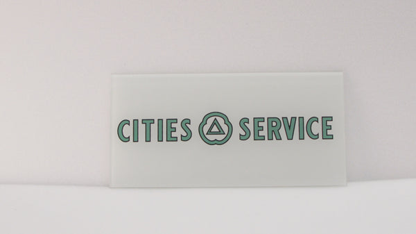 CITIES SERVICE GREEN Ad Glass Panel