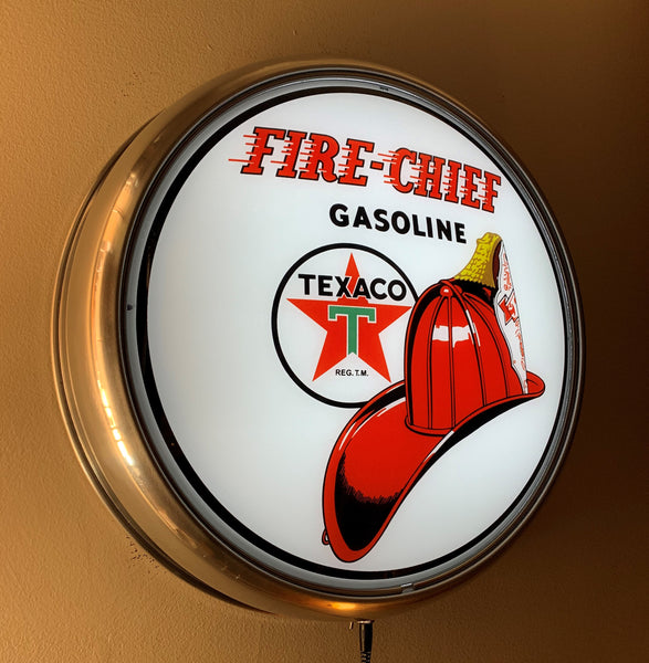 TEXACO FIRE CHIEF GAS PUMP GLOBE FACE ALUMINUM WALL MOUNT DISPLAY w LED LIGHTING