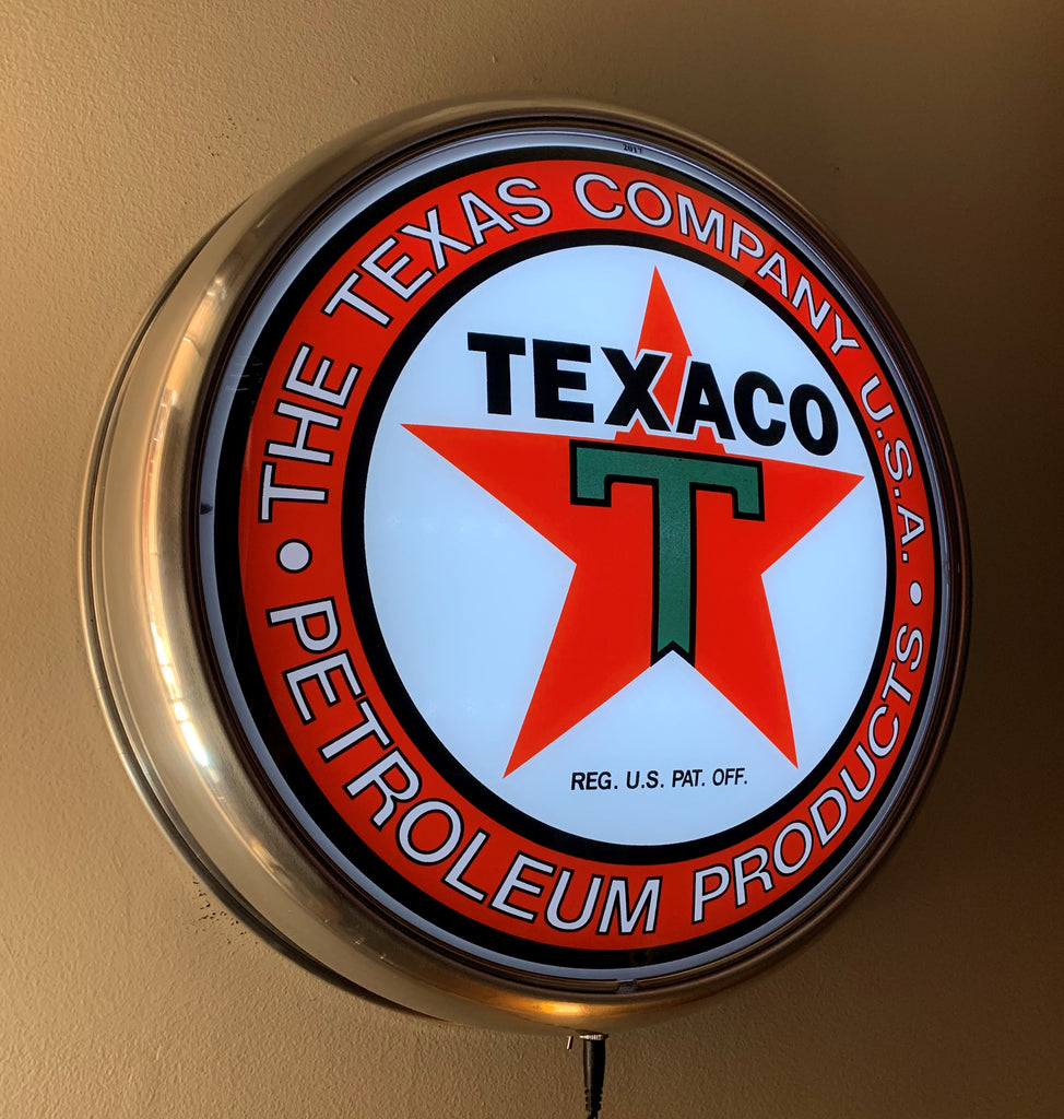 TEXACO COMPANY USA PETROLEUM PRODUCTS GAS PUMP GLOBE FACE ALUMINUM WALL MOUNT DISPLAY w LED LIGHTING