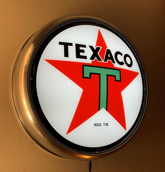 TEXACO STAR GAS PUMP GLOBE FACE ALUMINUM WALL MOUNT DISPLAY w LED LIGHTING