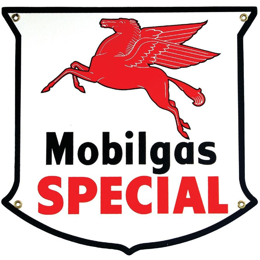 MOBILGAS SPECIAL die-cut Porcelain Sign