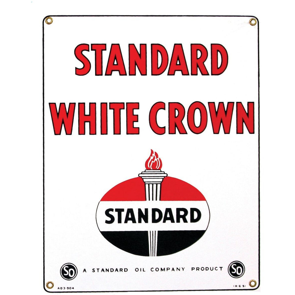 STANDARD WHITE CROWN die-cut Porcelain Sign