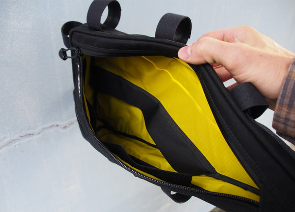 Frame bag divider open
