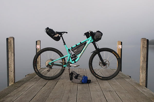 The Santa Cruz Bronson loaded for bikpacking