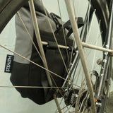 Mountain panniers attached to front rack