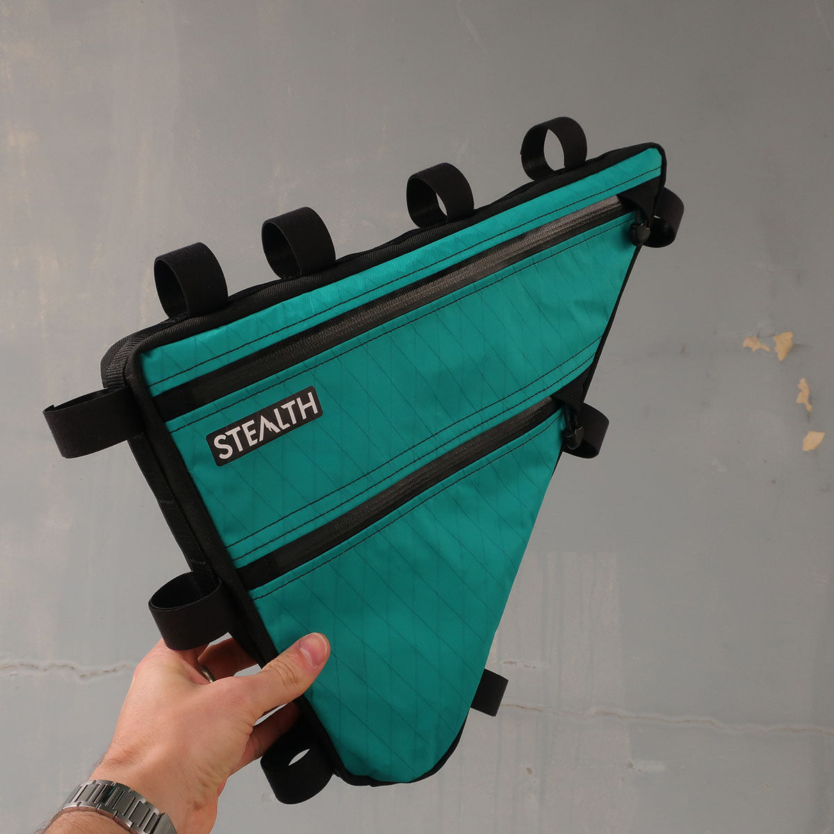 Teal X-pac frame bag for bikepacking