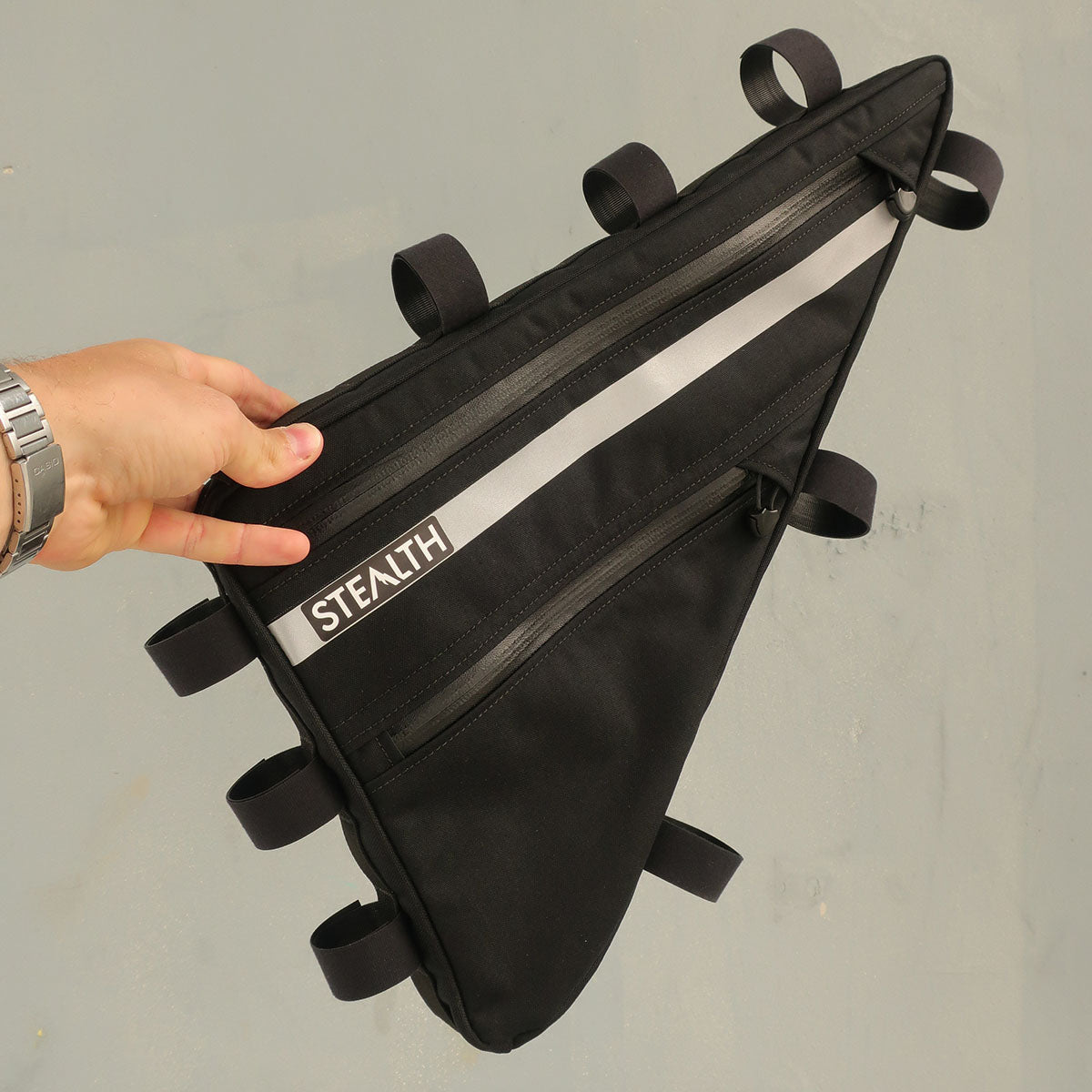 Black and reflective frame bag for cycle touring
