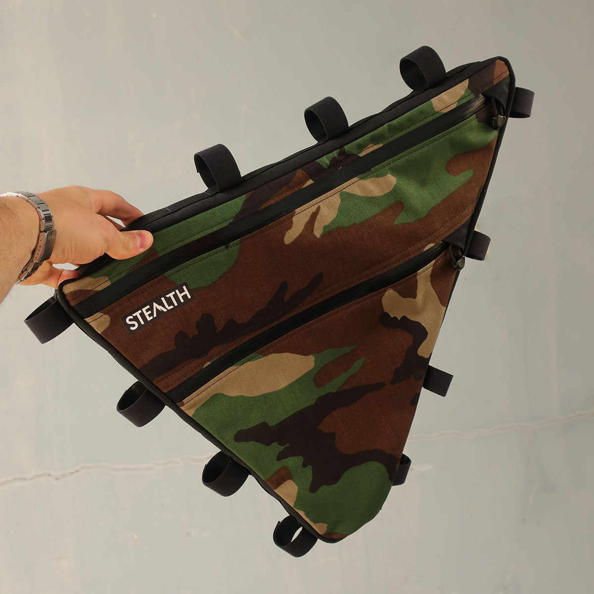 Custom woodland camo frame bag