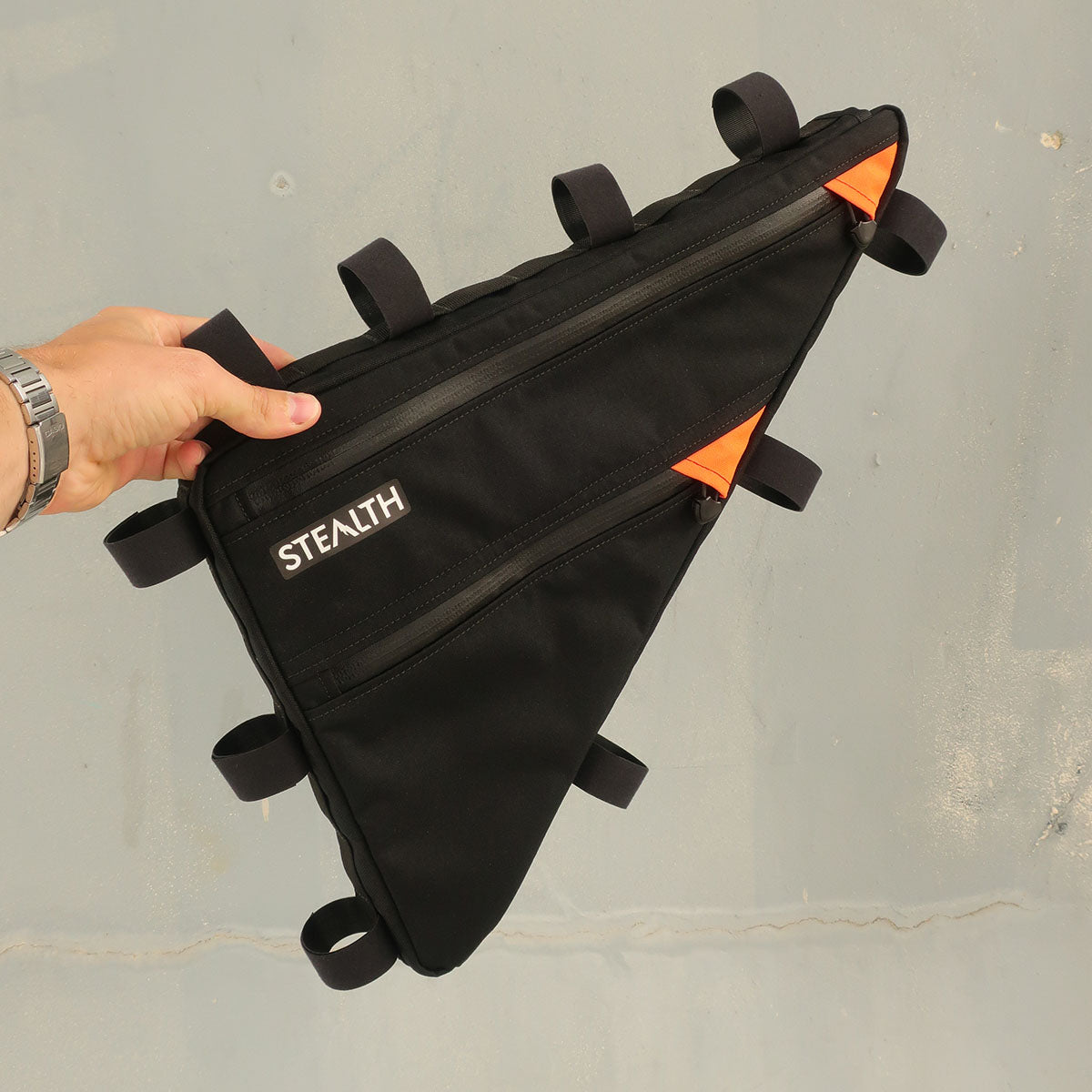 Custom black and orange frame bag