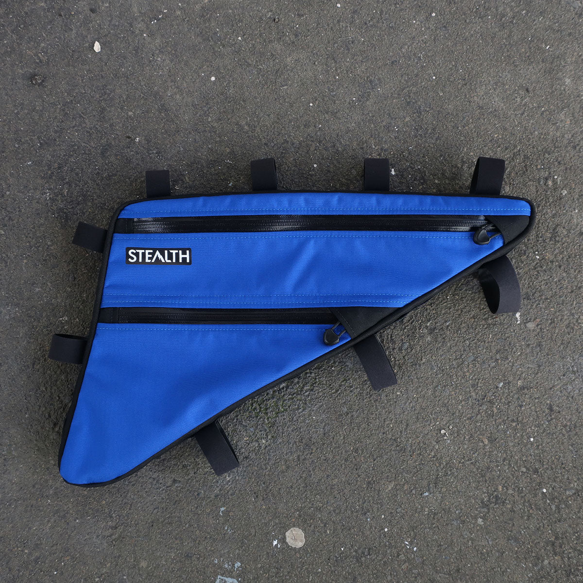 Blue custom double zip frame bag