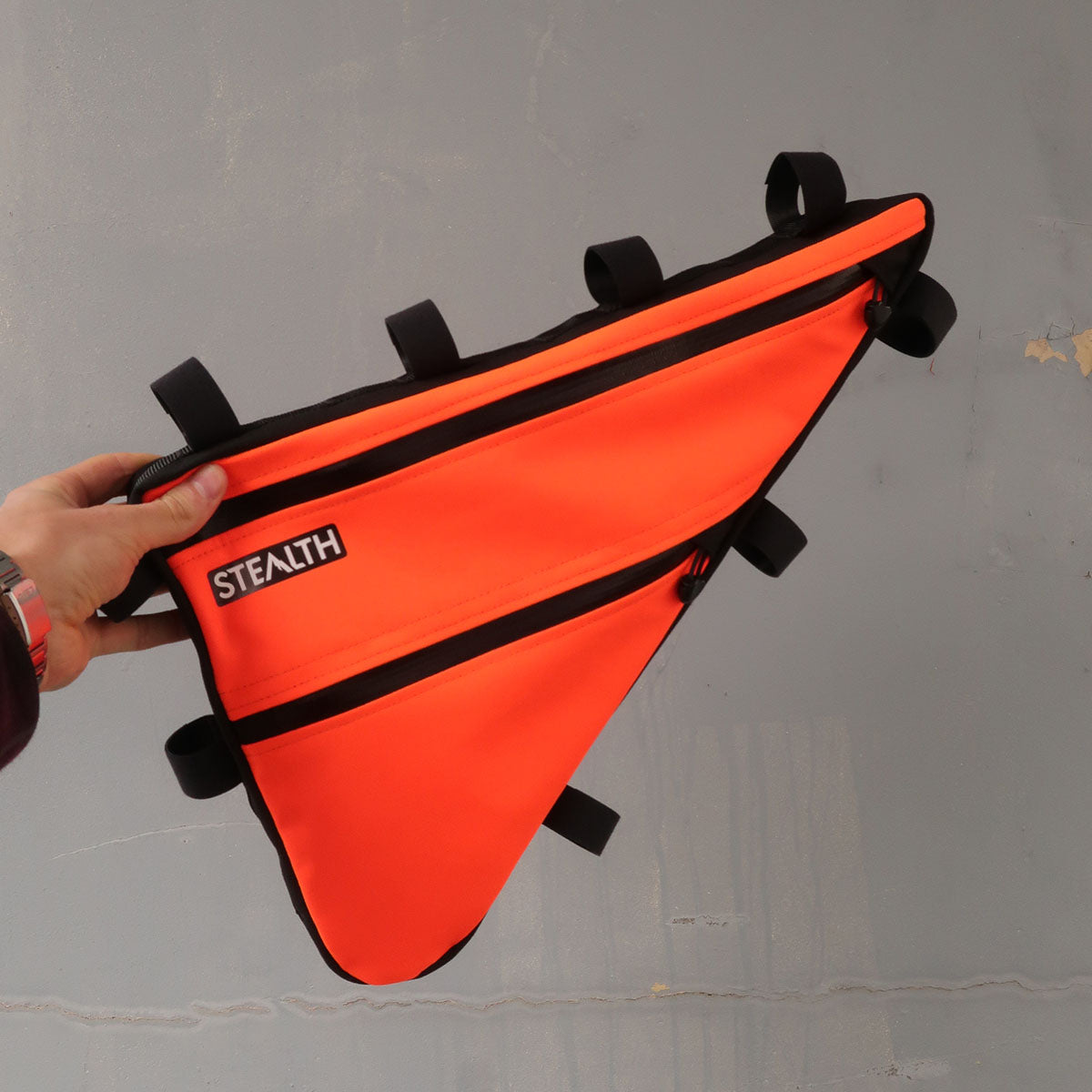 Bright orange safety frame bag for bicycle