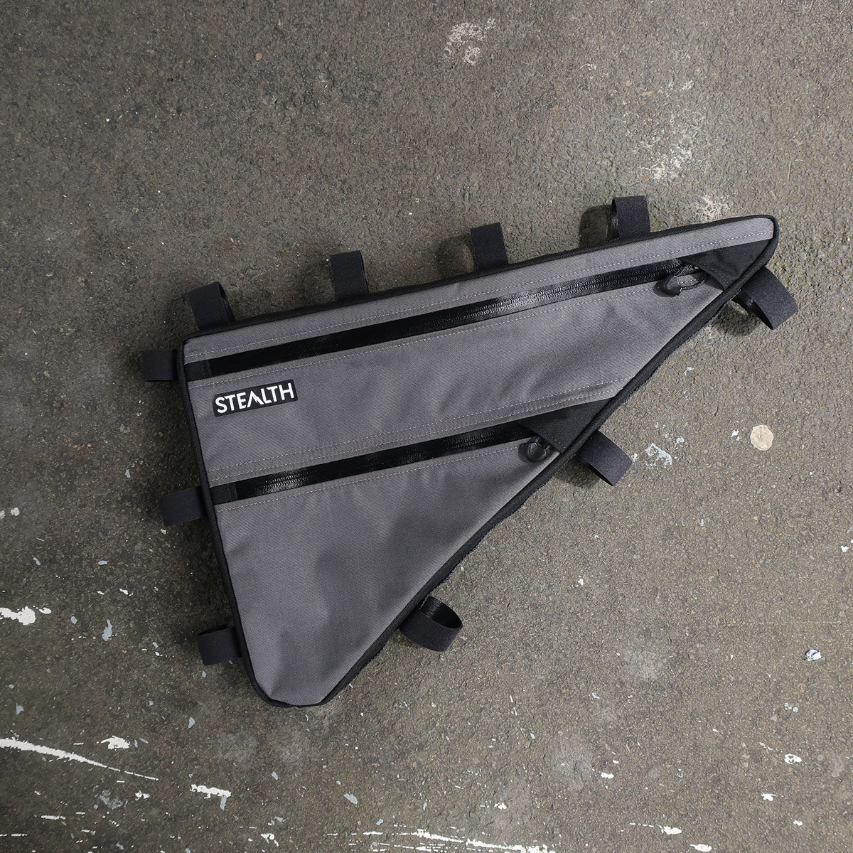 Custom grey frame bag for bikepacking