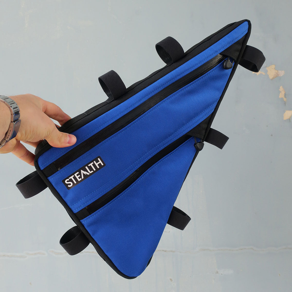Purple custom frame bag for biking