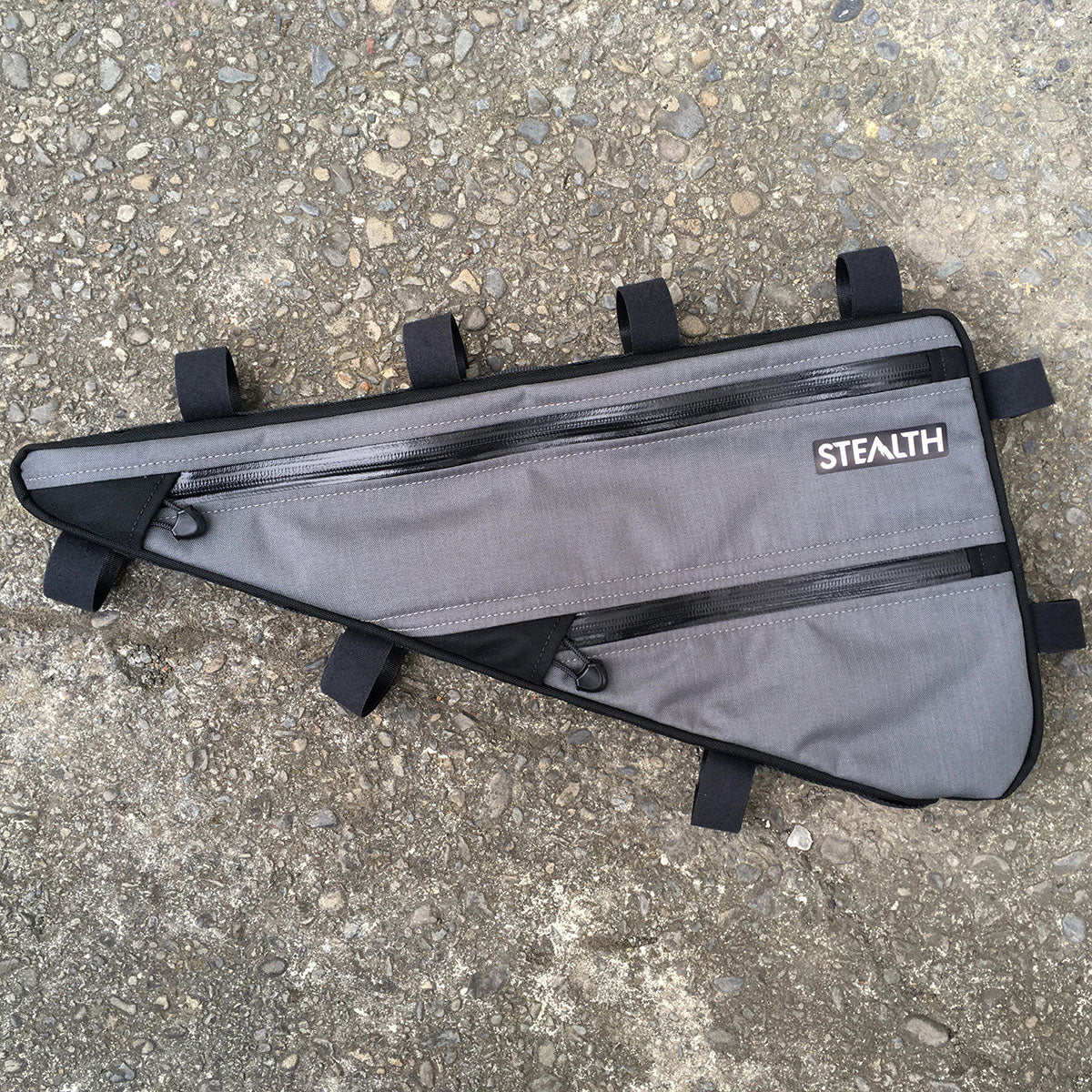 Custom grey frame bag for bike packing