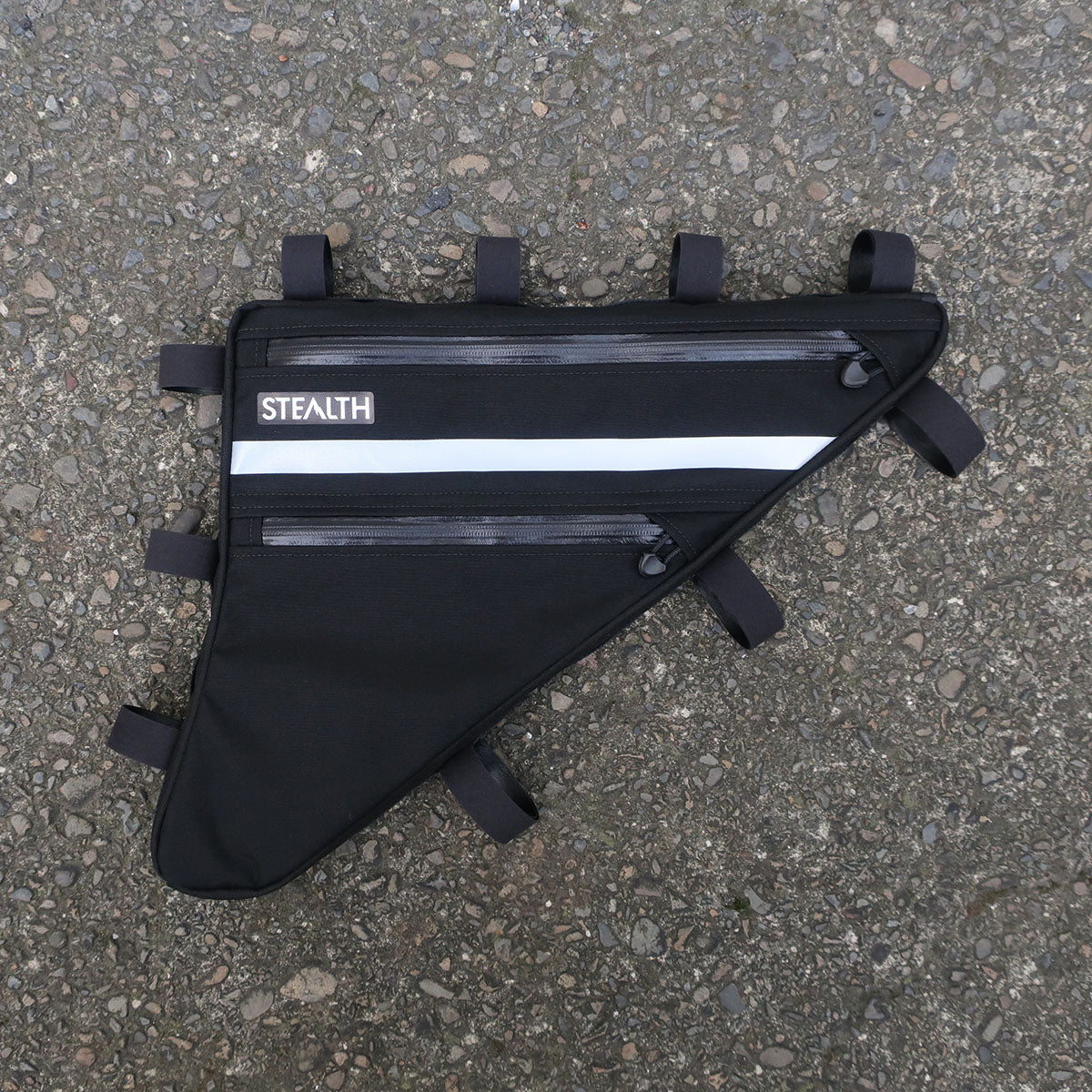 Black and reflective frame bag for bicycle touring