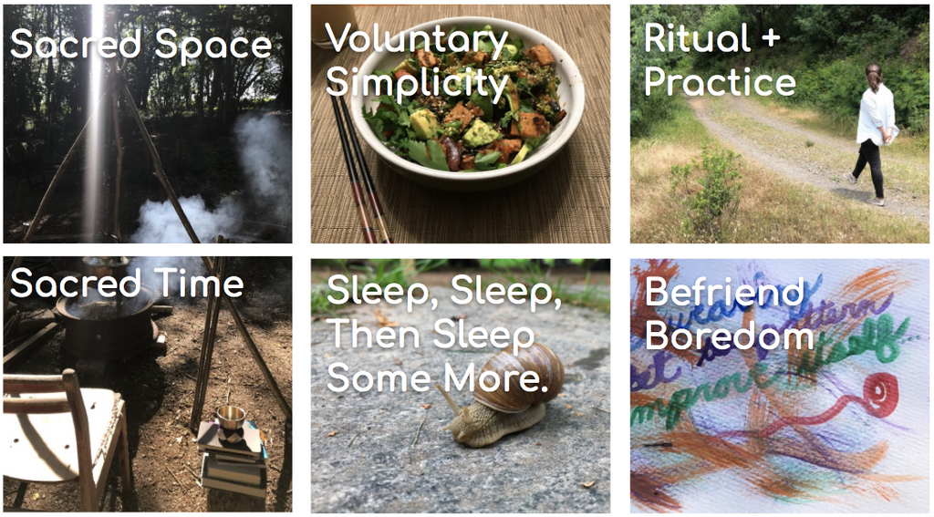 Six boxes with thumbnails of images from the rest of the article which say: 1) sacred space, 2) sacred time, 3) voluntary simplicity, 4) sleep, sleep, then sleep some more, 5) ritual + practice, 6) befriend boredom