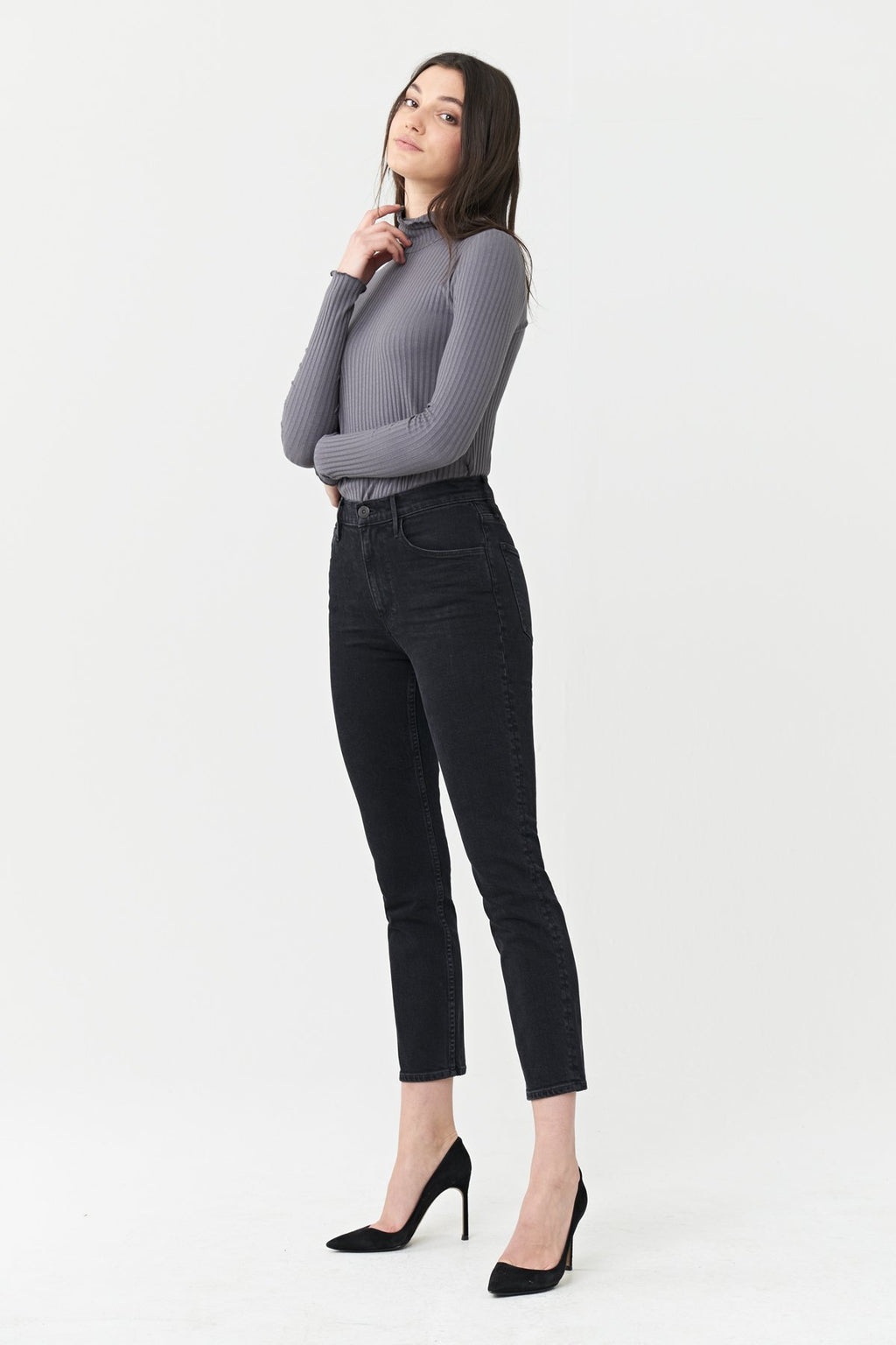 Colette Slim Crop High Rise | Black Kuro