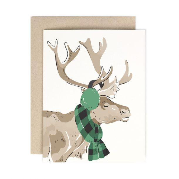 Buffalo Plaid Reindeer Greeting Card