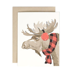 Buffalo Plaid Moose Greeting Card
