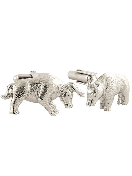 Sterling Silver Bull + Bear Cuff Links