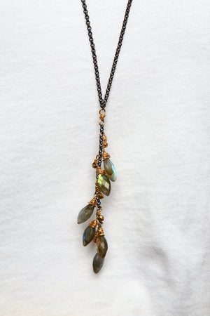 Gemstone Cluster Rolo Necklace