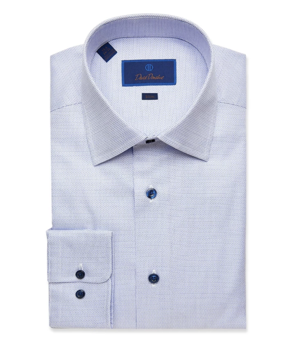 Blue Herringbone Check Dress Shirt