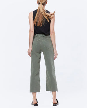 Nellie Culotte Utility Pocket - Vintage Ivy Green Raw Hem