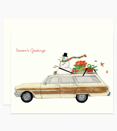 Snowman on a Stationwagon Christmas Greeting Card