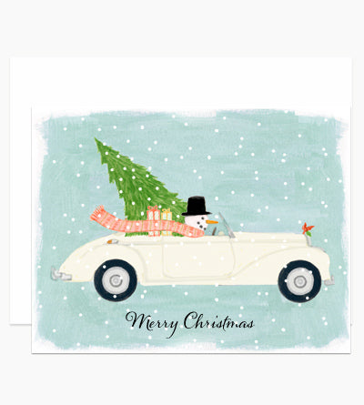 Snowman Driving Car Christmas Greeting Card