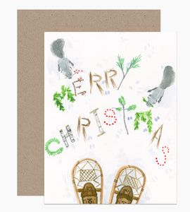 Snowshoes and Squirrels Christmas Greeting Card