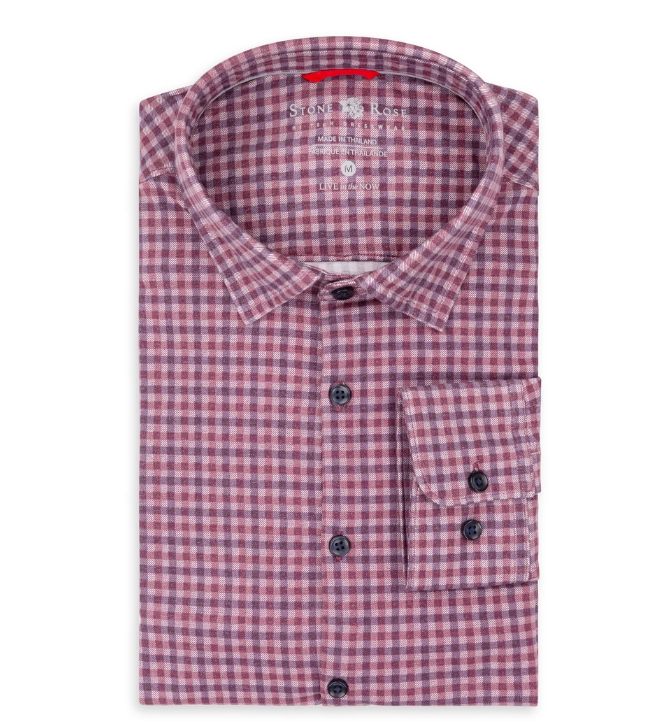 Berry Check Knit Performance Long Sleeve Shirt