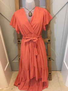 Coral Ruffle Mid Dress
