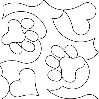 Dog Paws And Hearts Long Arm Quilting Pattern
