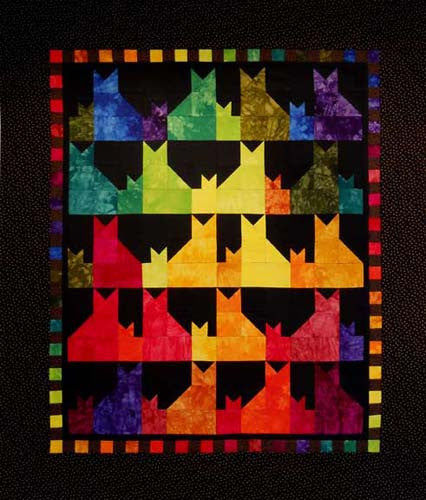 "Cat Quilts, Cats and the Thangles ""Tulip"" Unit"