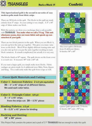 Thangles Confetti Quilt Project Pack Back