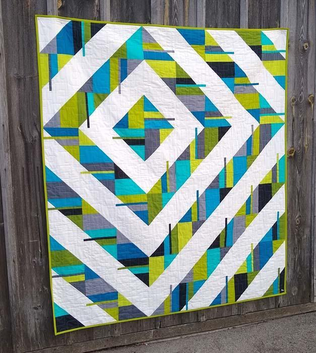"Fractured Quilt Pattern by Thangles made with 4.5"" strips"