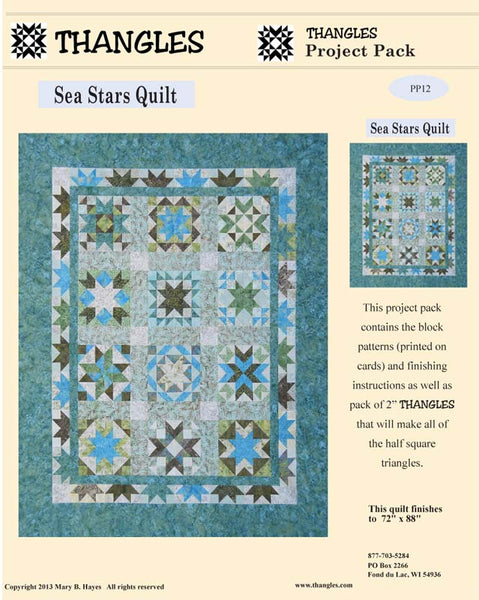 Sea Stars - Star Sampler Quilt using Thangles with 12 blocks