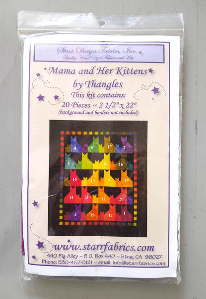 "Mama and Her Kitten Starter Fabric 2.5"" Strip Kit - Contains 20 Rainbow Color Hand Dyed Fabrics"