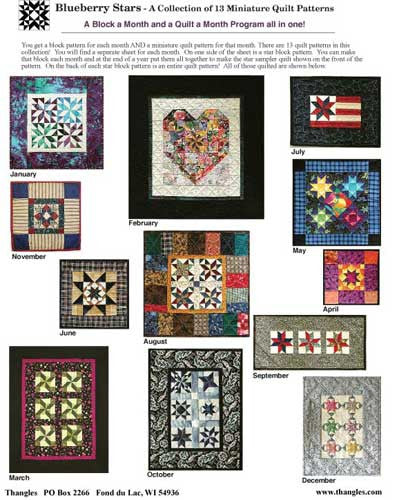 Thangles Blueberry Stars Mini Quilts Project Pack