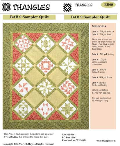 Thangles BAB 9 Sampler Quilt Project Pack