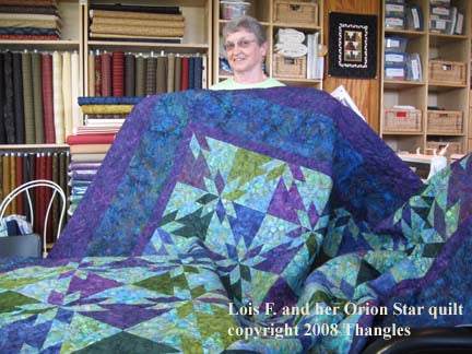 Lois F. with her Thangles Orion Star quilt