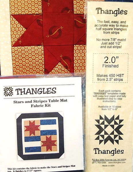 "Stars and Bars Table Mat Special with 2"" Thangles, FREE Pattern and Pre-cut Fabric Kit"