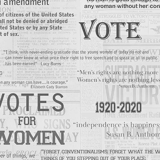 Votes for Women Fabric Quotes Suffrage Gray