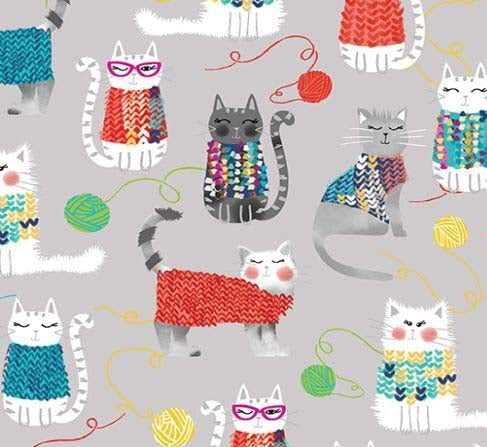 Gray -Knit Together Cats - Fabric by the yard.