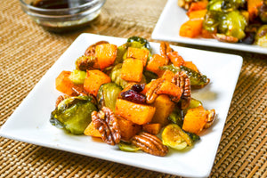 Warm Cinnamon Butternut Squash Salad with a drizzle of Garlic Coconut Syrup Dressing