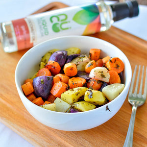 Garlic Coconut Oil Roasted Carrots & Potatoes